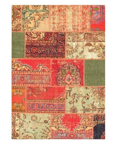 eCarpet Gallery Yama Patchwork Rug, Aqua/Red, 5' 1 x 8' 3""