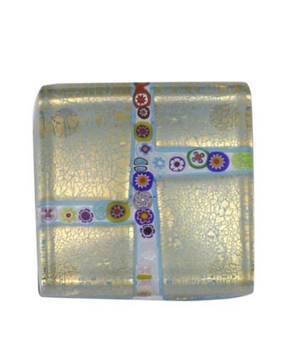 Eccolo Millefiori Maze Paperweight [Gold/Aqua]