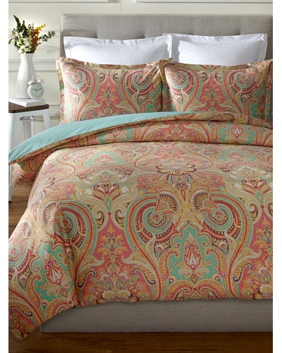 Echo Guinevere Duvet Mini Set, Coral/Mint, Queen