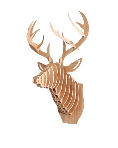 Eco Décor Laser-Cut Animal Trophy Deer Head, Maple