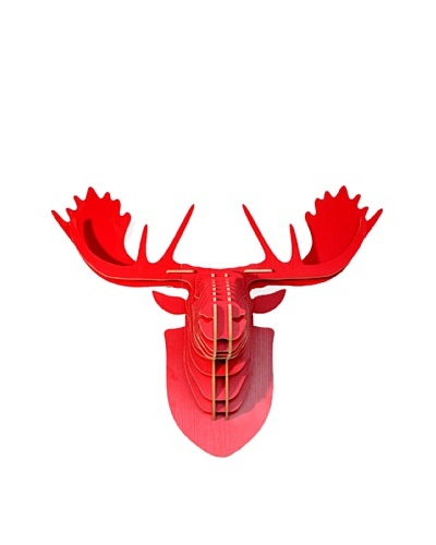 Eco Décor Laser-Cut Animal Trophy Reindeer Head, Red