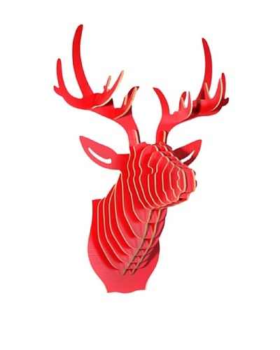 Eco Décor Laser-Cut Animal Trophy Deer Head, Red