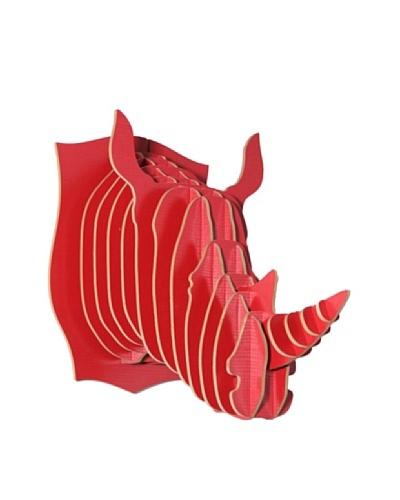 Eco Décor Laser-Cut Animal Trophy Rhinoceros Head, Red