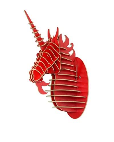 Eco Décor Laser-Cut Animal Trophy Unicorn Head, Red