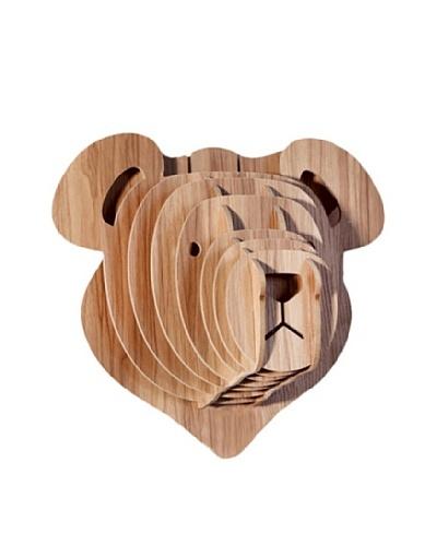 Eco Décor Laser-Cut Animal Trophy Teddy Bear Head, Maple