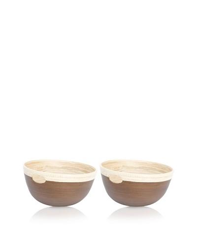 Ecorce d'Orange Set of 2 Hand-Painted Bamboo Bowls