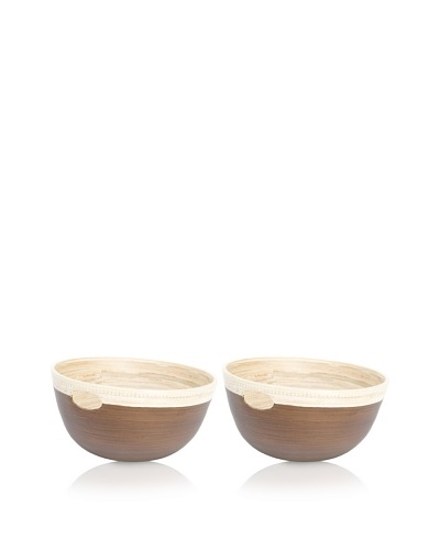 Ecorce d'Orange Set of 2 Hand-Painted Bamboo Bowls [Cuir]