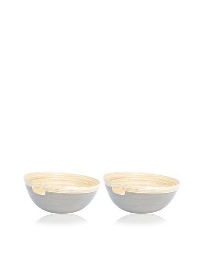 Ecorce d'Orange Set of 2 Hand-Painted Bamboo Bowls [Granite]