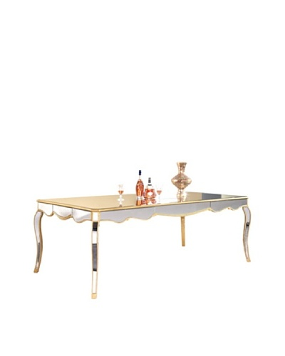 Camille Mirrored Dining Table, Gold Leaf