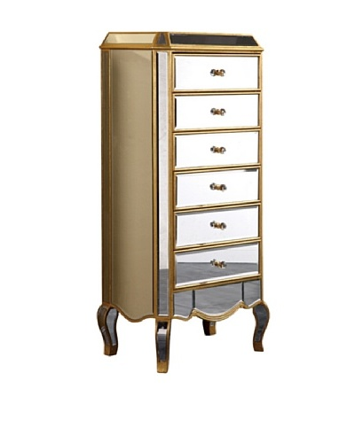 Camille 6-Drawer Mirrored Chest, Gold Leaf