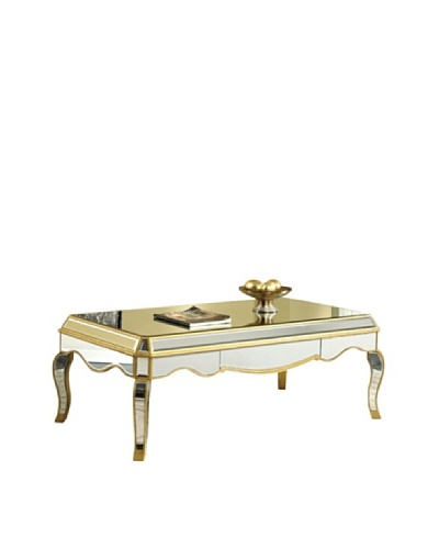 Camille Mirrored Coffee Table, Gold Leaf