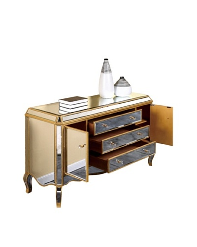 Camille Mirrored Buffet, Gold Leaf