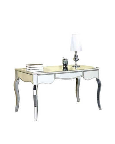 Camille 3-Drawer Mirrored Desk, Silver Leaf