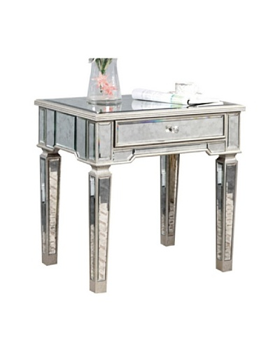 Florentine Lamp Table, Silver Leaf/Antique  Mirror