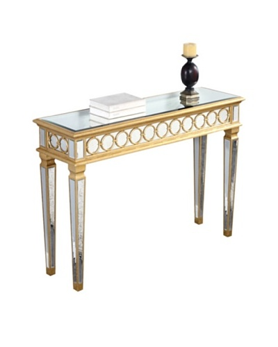 Audrey Mirrored Console Table, Gold Leaf