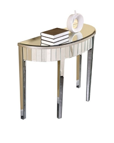 Mirage Curve Front Mirrored Table, Silver Leaf