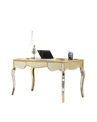 Camille 3-Drawer Mirrored Desk, Gold Leaf