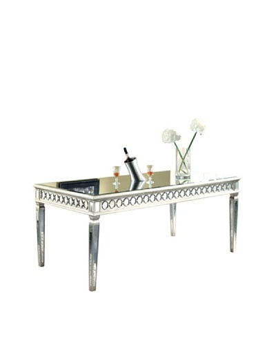 Audrey Mirrored Dining Table, Silver Leaf