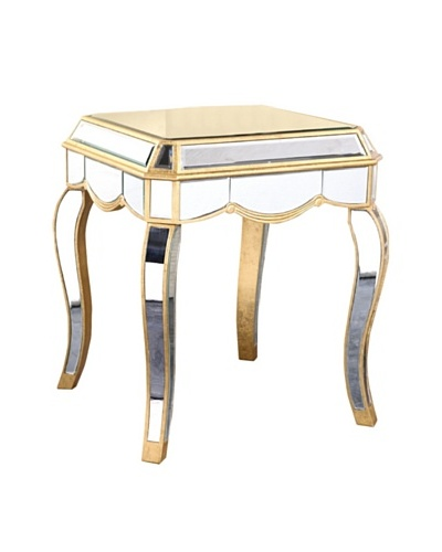 Camille Mirrored Lamp Table, Gold Leaf