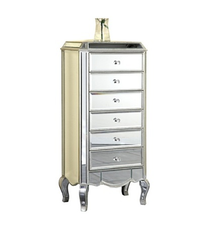Camille 6-Drawer Mirrored Chest, Silver Leaf