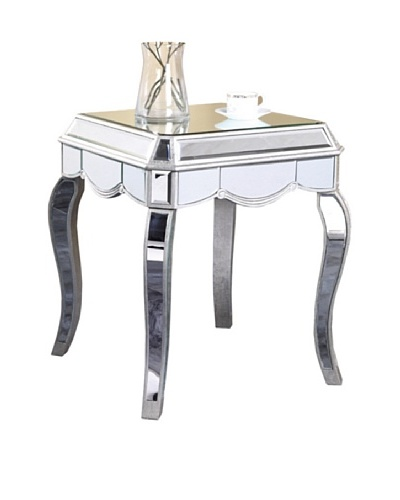 Camille Mirrored Lamp Table, Silver Leaf