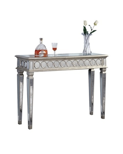 Audrey Mirrored Console Table, Silver Leaf