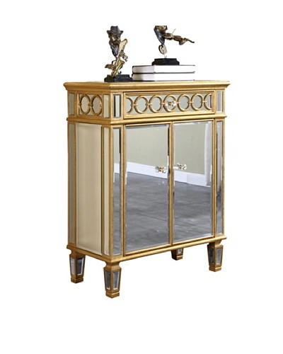 Audrey 2-Door Mirrored Cabinet, Gold Leaf