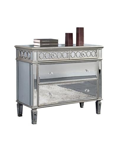 Audrey 2-Drawer Mirrored Cabinet, Silver Leaf