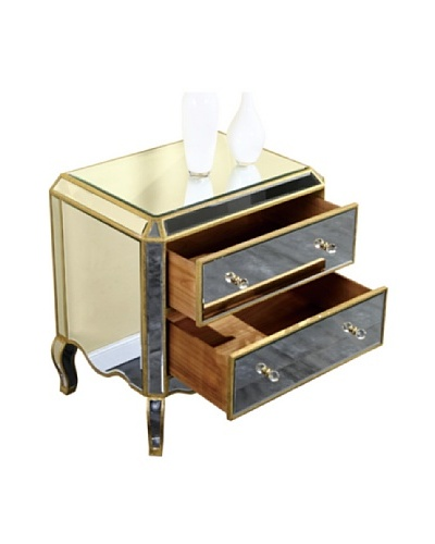 Camille 2-Drawer Mirrored Cabinet, Gold Leaf