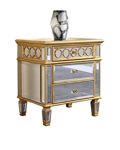 Audrey 2-Drawer Mirrored Lamp Table, Gold Leaf