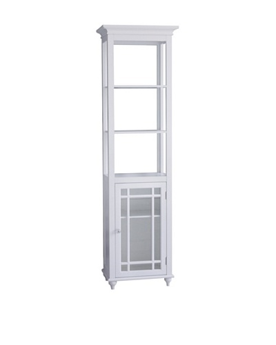 Elegant Home Fashions Neal Shelved Linen Tower, White