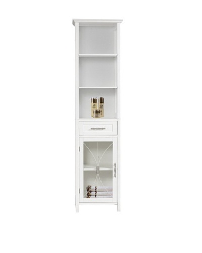 Elegant Home Fashions Delaney 3-Shelf Linen Cabinet with Drawer, White