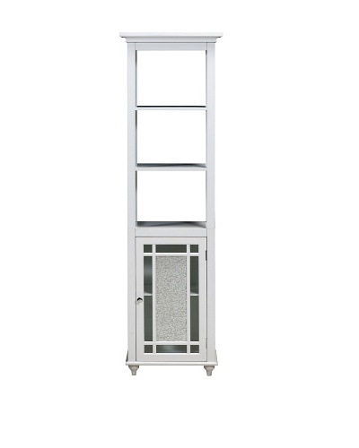 Elegant Home Fashions Whitney Linen Tower Cabinet, White