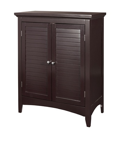 Elegant Home Fashions Slone Double Shutter Door Floor Cabinet, Dark Espresso