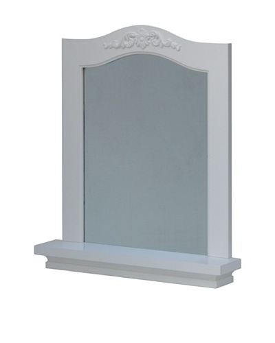 Elegant Home Fashions Versailles Wall Mirror with Shelf, White