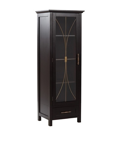 Elegant Home Fashions Delaney Linen Cabinet with Door and Drawer, Dark Espresso