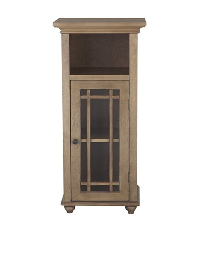 Elegant Home Fashions Harrington Floor Cabinet with Door and Shelf, Weathered Wood