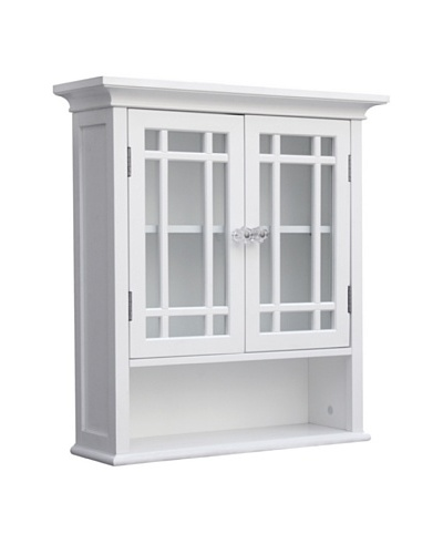 Elegant Home Fashions Neal Double Door Wall Cabinet with Shelf, White