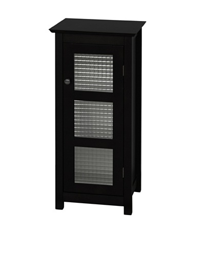 Elegant Home Fashions Chesterfield Shelved Floor Cabinet with Glass-Paneled Door, Espresso
