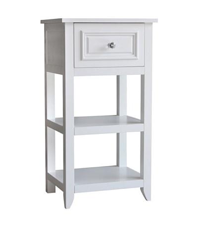 Elegant Home Fashions Dawson 2-Shelf Floor Cabinet with Drawer, White
