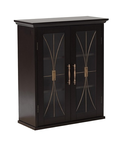 Elegant Home Fashions Delaney Double Door Wall Cabinet, Dark Espresso