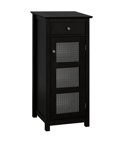 Elegant Home Fashions Chesterfield Floor Cabinet with Cupboard and Drawer, Espresso