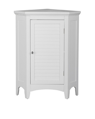 Elegant Home Fashions Slone Corner Floor Cabinet with Shutter Door, White