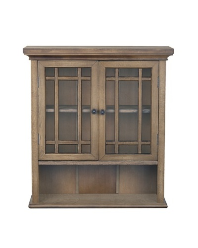 Elegant Home Fashions Harrington Wall Cabinet with 2 Doors, Weathered Wood