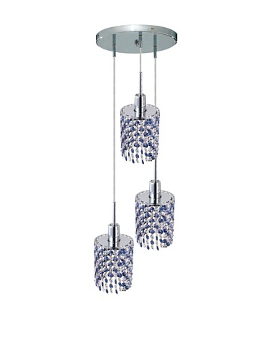 Elegant Lighting Mini Crystal Collection 3-Light Round Pendant Lamp, Sapphire