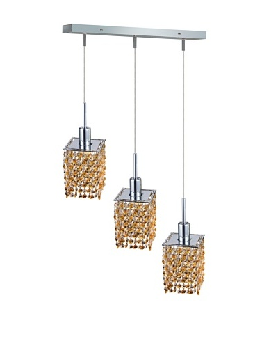 Elegant Lighting Mini Crystal Collection 3-Light Square Pendant Lamp, Light Topaz