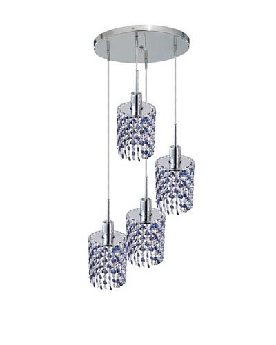 Elegant Lighting Mini Crystal Collection 4-Light Round Pendant Lamp, Sapphire