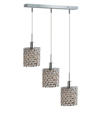 Elegant Lighting Mini Crystal Collection 3-Light Square Pendant Lamp, Golden Teak