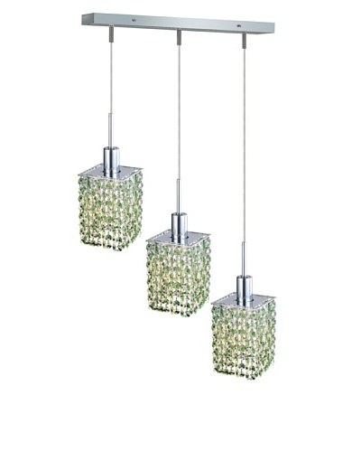 Elegant Lighting Mini Crystal Collection 3-Light Square Pendant Lamp, Light Peridot