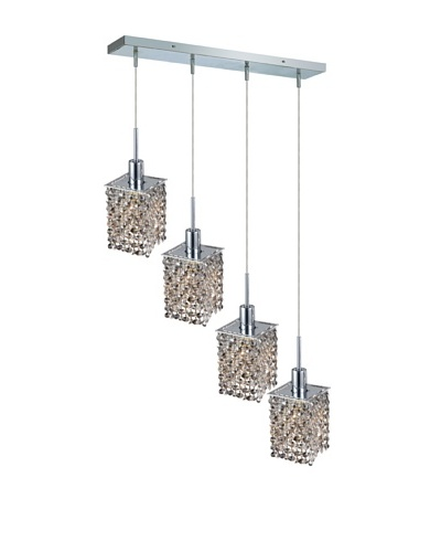 Elegant Lighting Mini Crystal Collection 4-Light Square Pendant Lamp, Golden Teak